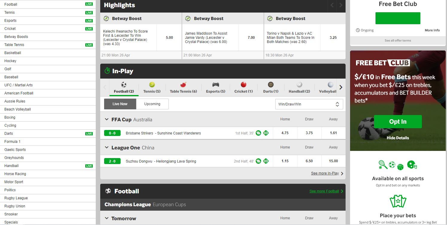 betway-odds-selection